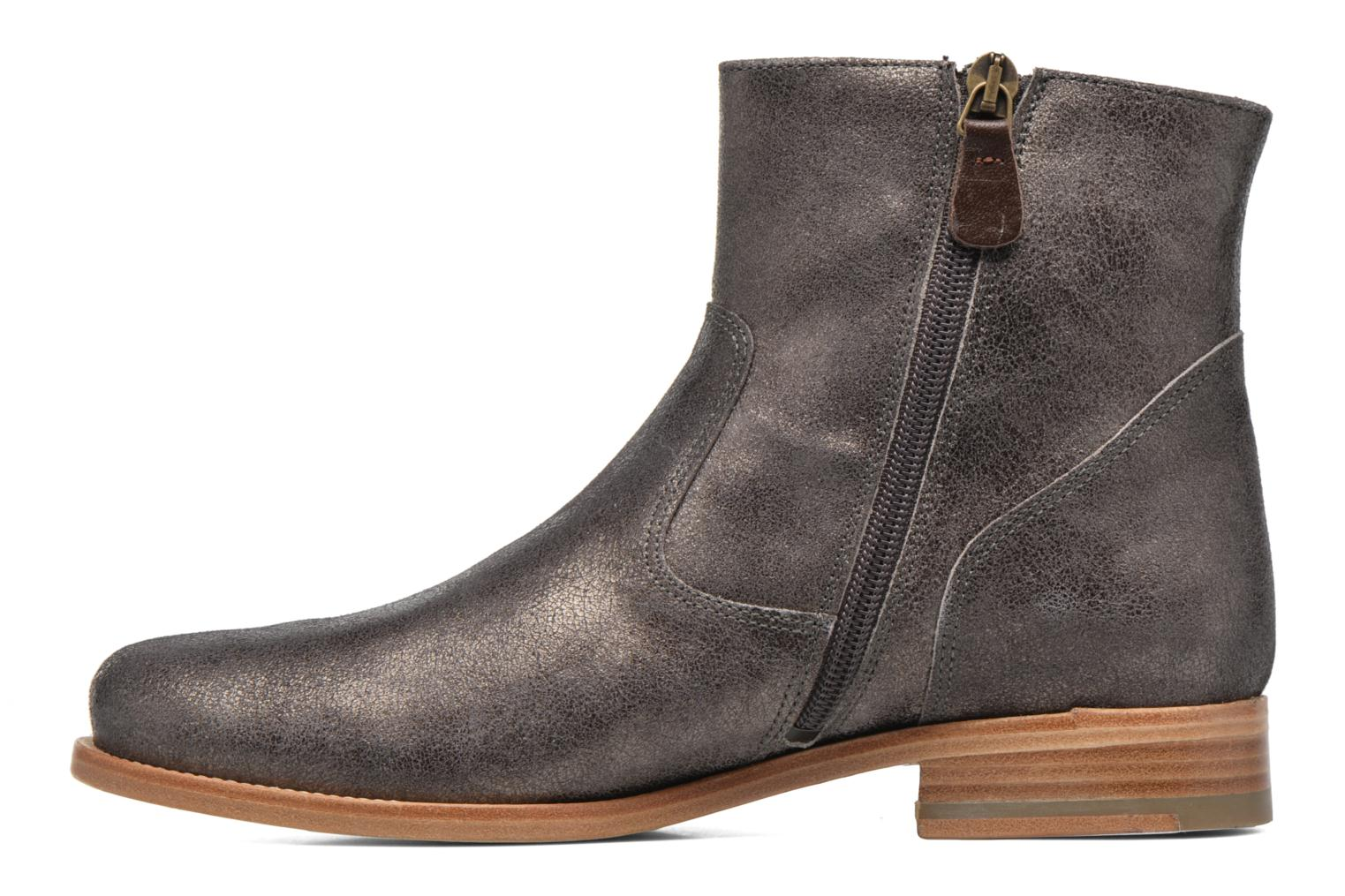 Ankle boots Bensimon Boots croute velours plate Grey front view