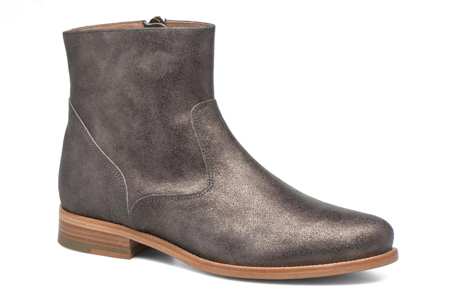 Ankle boots Bensimon Boots croute velours plate Grey detailed view/ Pair view