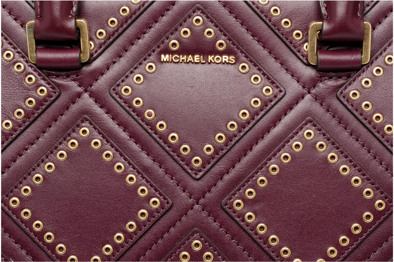 Bolsos de mano Michael Michael Kors SELMA MD TZ Satchel Diamond Grommet Violeta      vista lateral izquierda