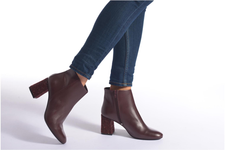 Bottines et boots Georgia Rose Divala Bordeaux vue bas / vue portée sac