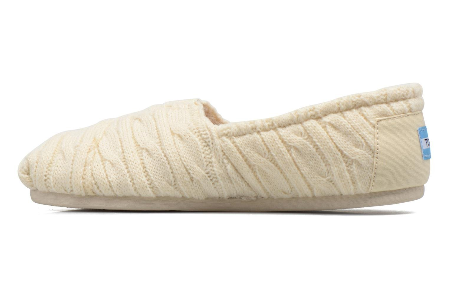 Mocassins TOMS Seasonal classics knit Blanc vue face