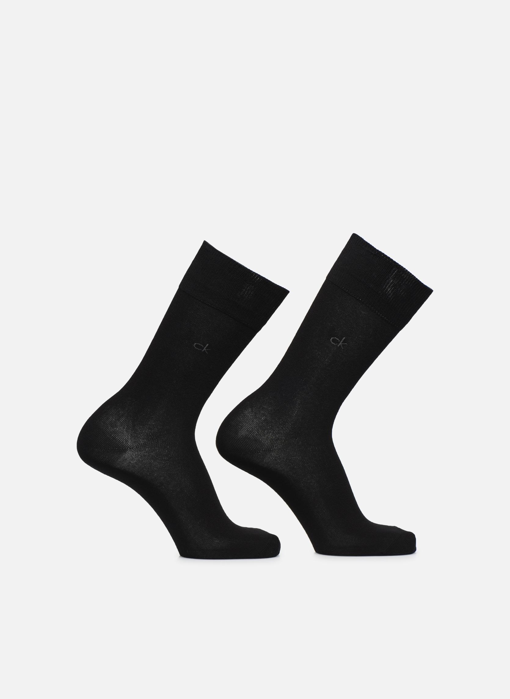 Chaussettes Homme Coton Pack de 2 Unies 00 BLACK