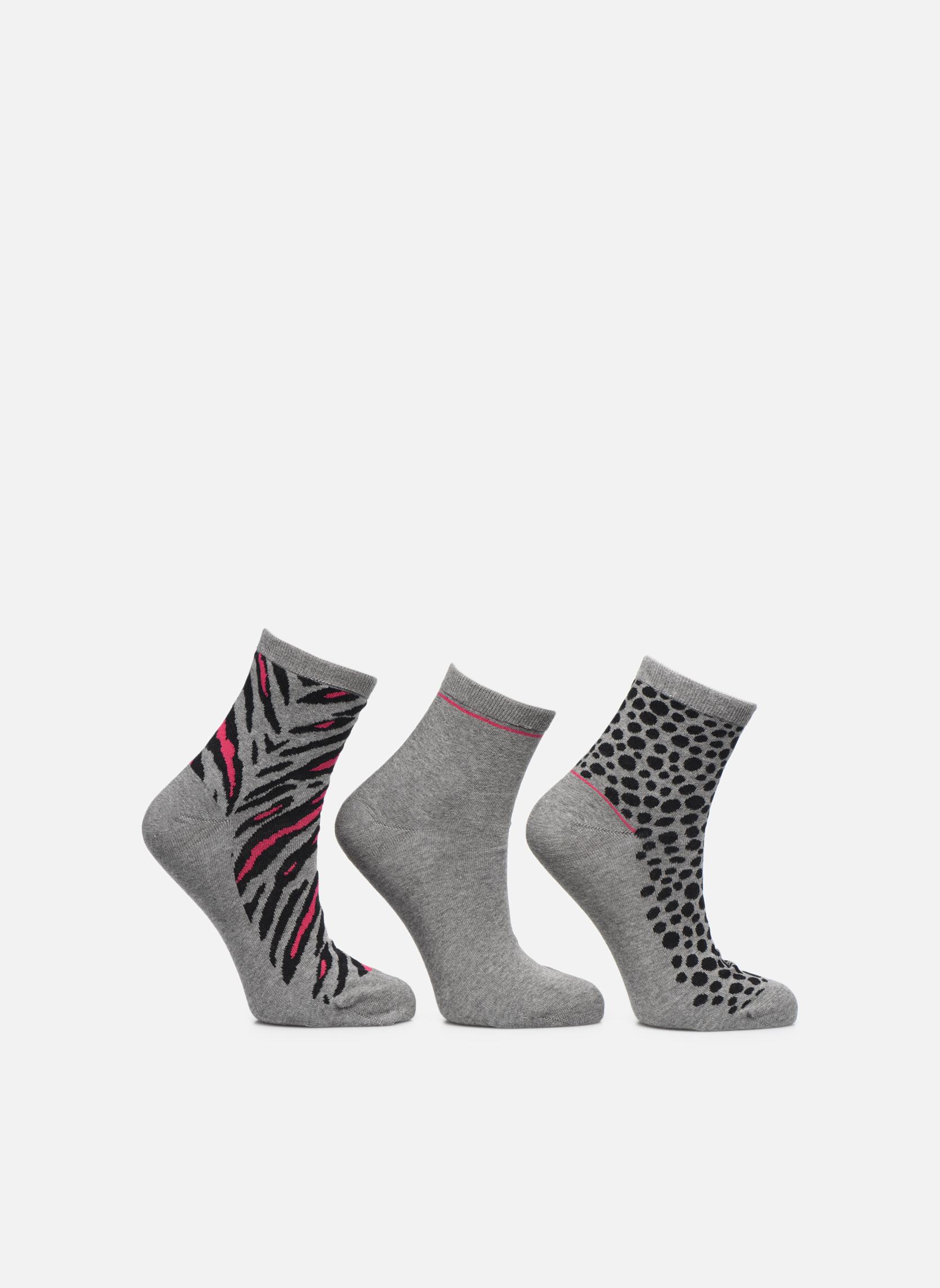 Chaussettes motif Pack de 3 femme coton Gris