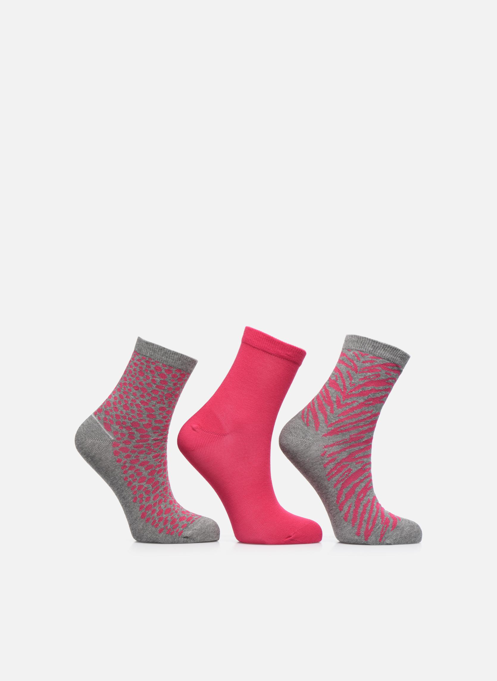 Chaussettes animal Pack de 3 enfant coton gris chiné pink