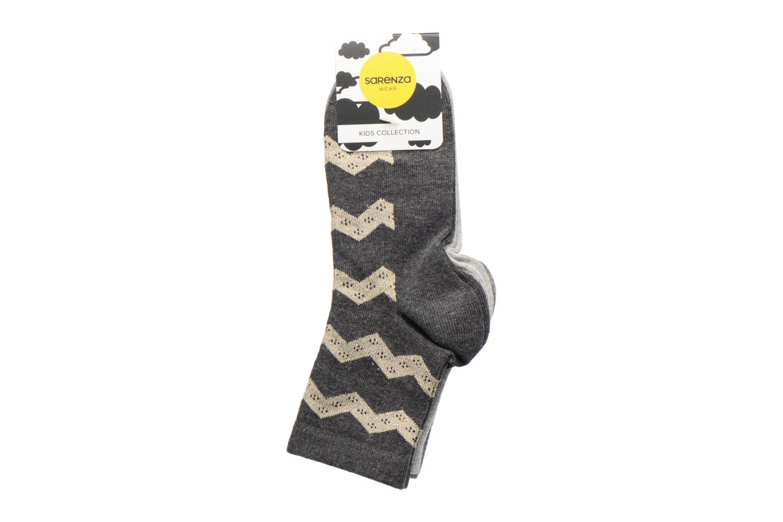 Chaussettes lurex Pack de 3 enfant coton gris chiné doré