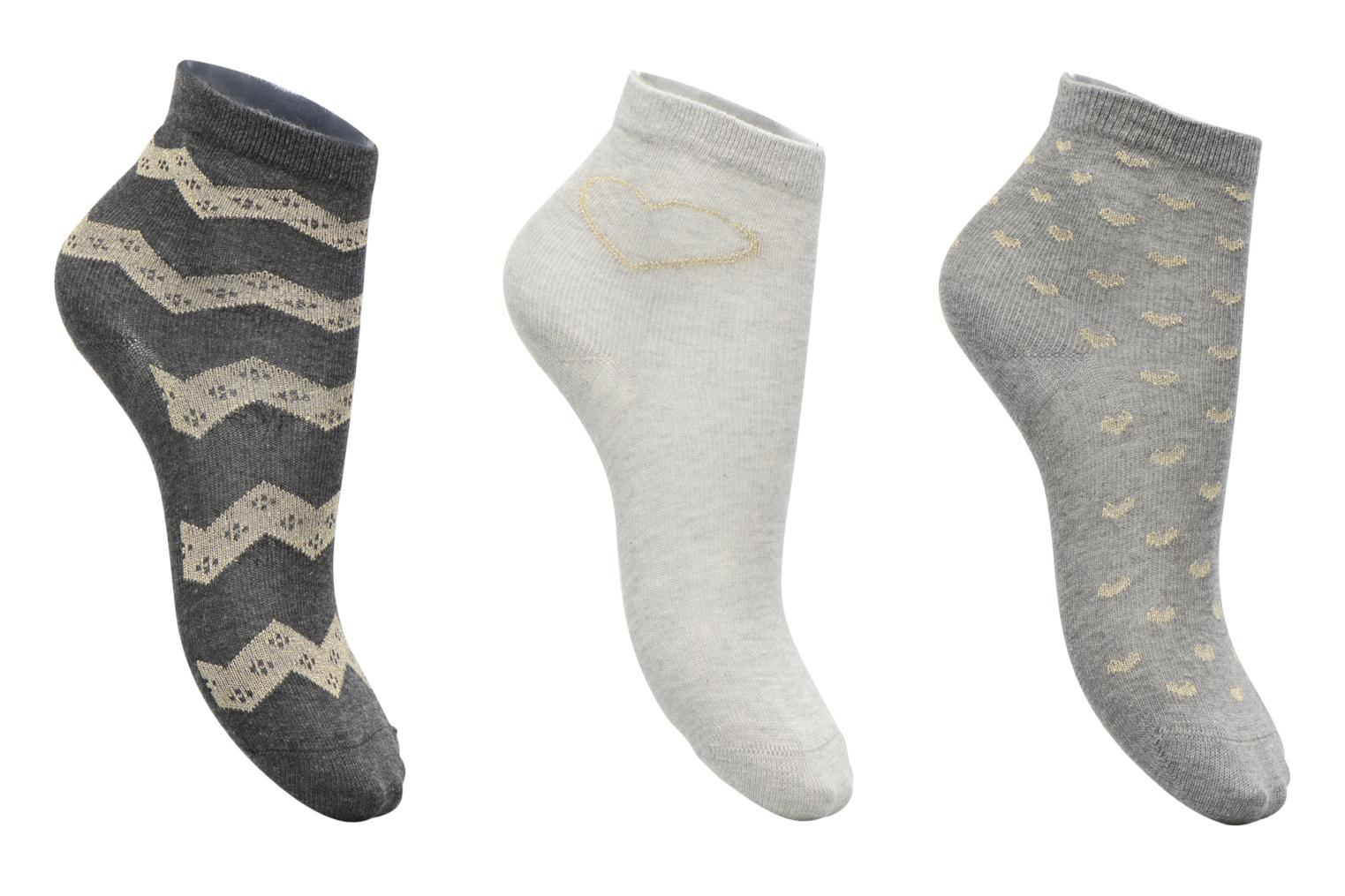 Socks & tights Sarenza Wear Chaussettes lurex Pack de 3 enfant coton Grey detailed view/ Pair view