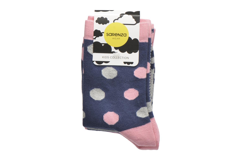 Strømper og tights Sarenza Wear Chaussettes pois Pack de 3 Enfant coton Blå se bagfra