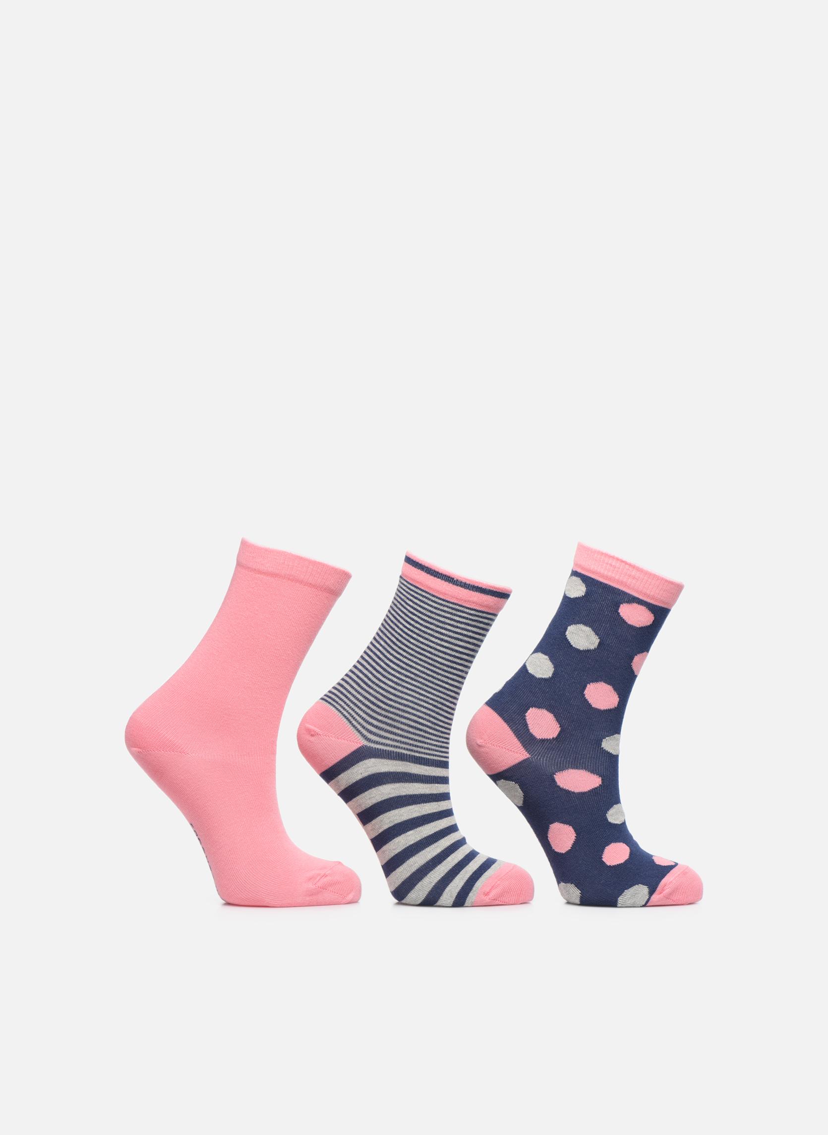 Strømper og tights Sarenza Wear Chaussettes pois Pack de 3 Enfant coton Blå detaljeret billede af skoene