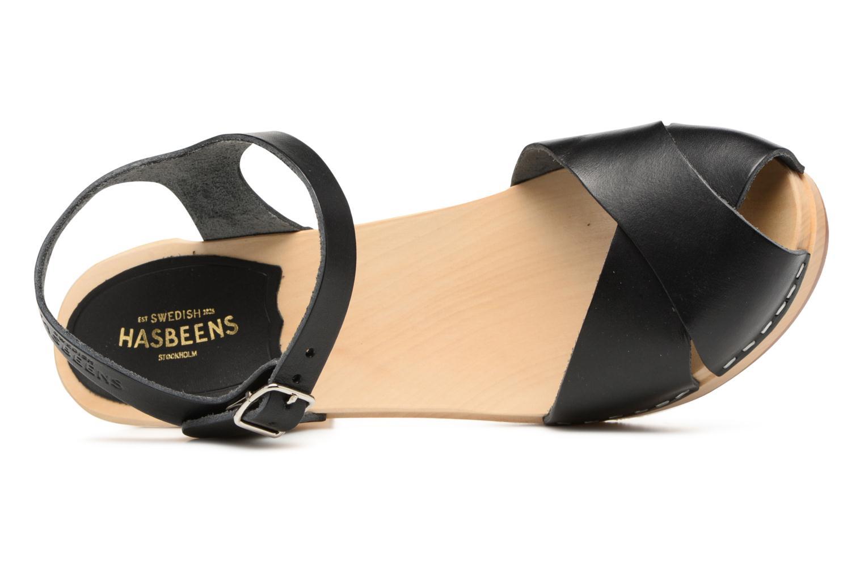 Sandalen Swedish Hasbeens Merci Sandal schwarz ansicht von links