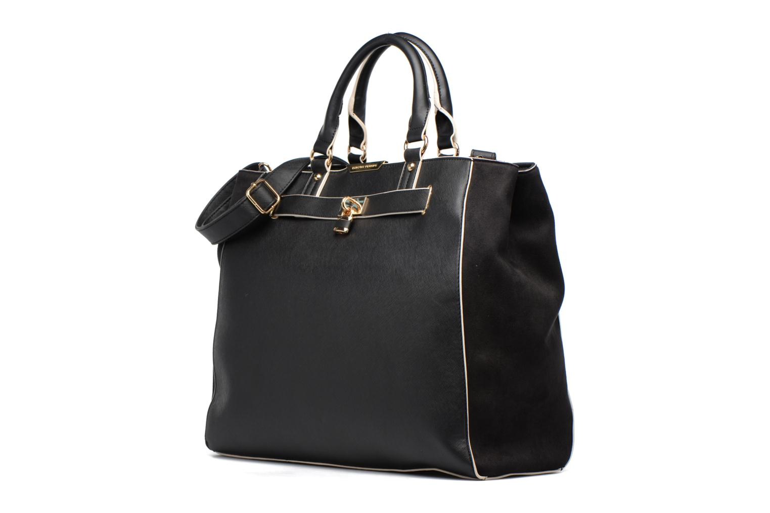 Black WBone Piping Belted Oversize Tote Black