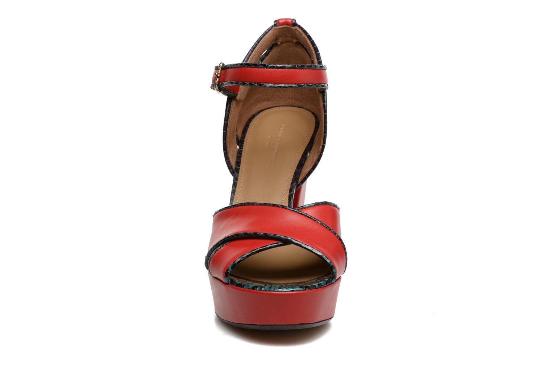 Sandale Madame Rykiel Cuir Veau Lisse Rouge Et Serpent Bleu