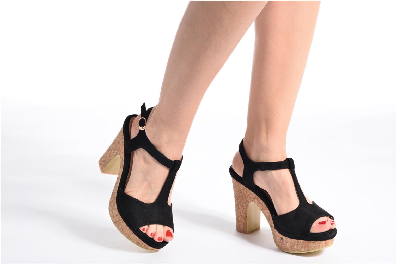 Sandales et nu-pieds Refresh Pero Noir vue bas / vue portée sac