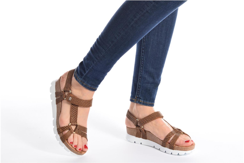 Sandales et nu-pieds Panama Jack Sally snake Marron vue bas / vue portée sac