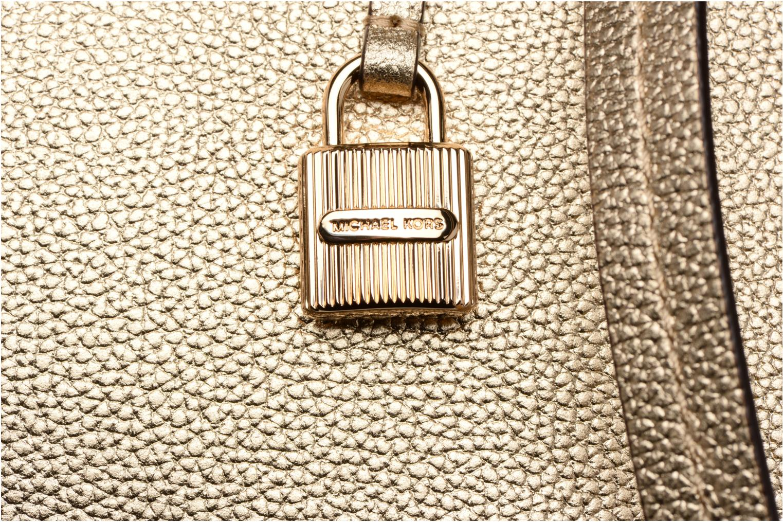 Bolsos de mano Michael Michael Kors MERCER LG SATCHEL Oro y bronce vista lateral izquierda