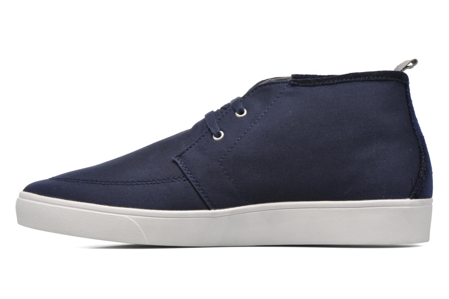 Baskets Fred Perry Shields Mid Wax Cotton Bleu vue face