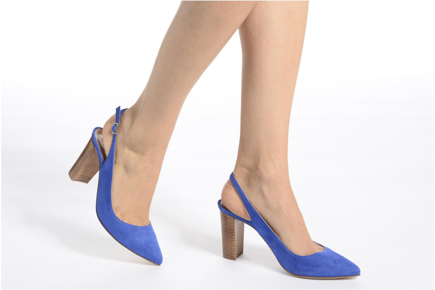 High heels Made by SARENZA 90's Girls Gang Escarpins #4 Blue view from underneath / model view