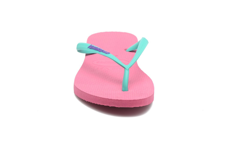 Tongs Havaianas Slim Logo Rose vue portées chaussures