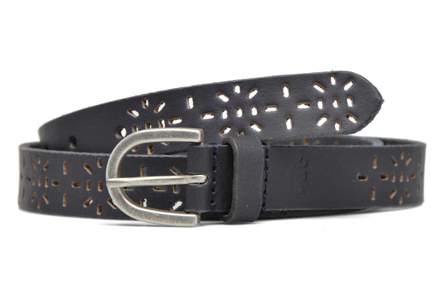 Perforated leather belt Dark Blue