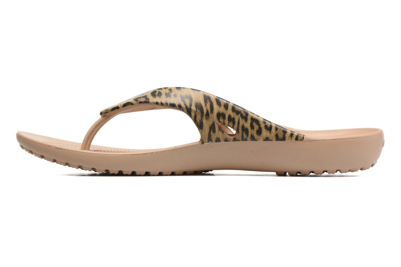 Tongs Crocs Kadee II Leopard Print Flip W Or et bronze vue face