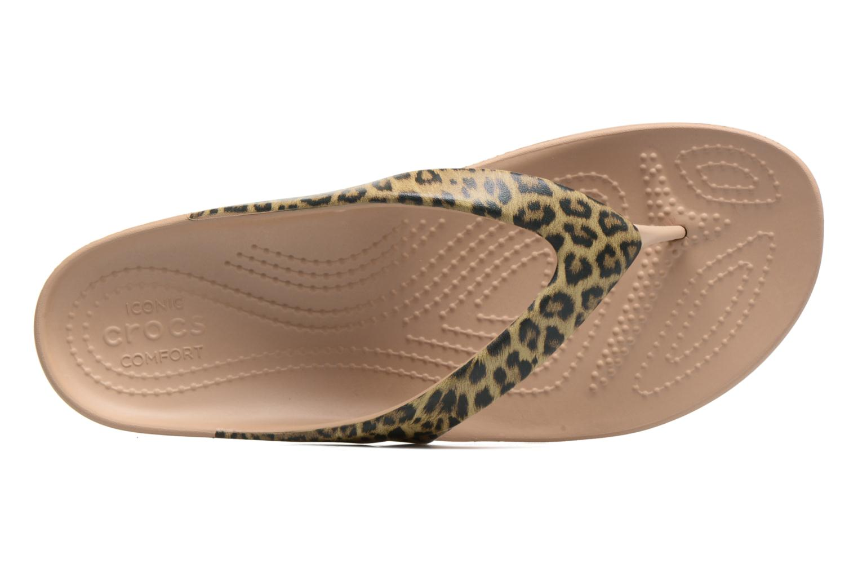 Tongs Crocs Kadee II Leopard Print Flip W Or et bronze vue gauche