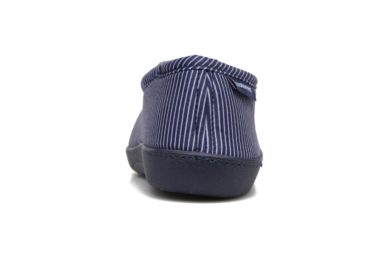 Chaussons Isotoner Charentaise Ergonomique Suédine Bleu vue droite