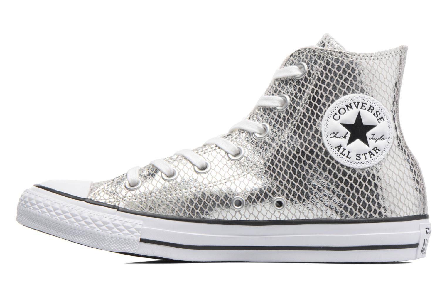 Baskets Converse Chuck Taylor All Star Hi Metallic Snake Leather Argent vue face
