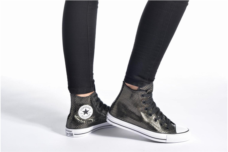 Sneakers Converse Chuck Taylor All Star Hi Metallic Snake Leather Nero immagine dal basso