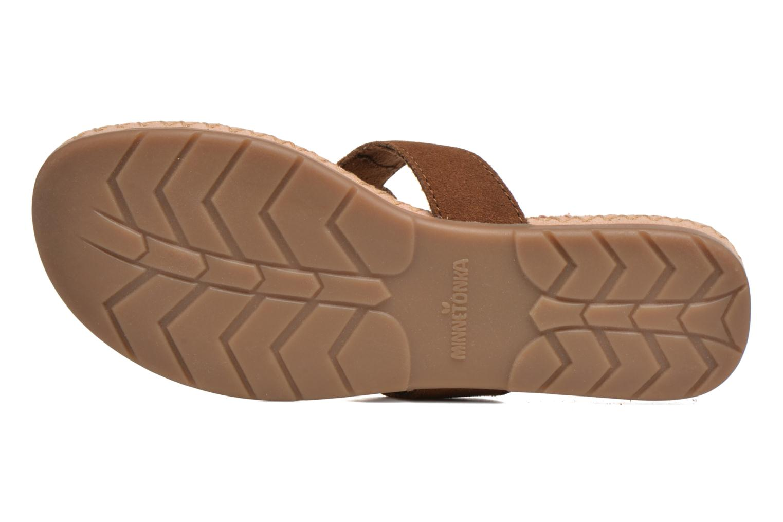 Sandales et nu-pieds Minnetonka Thong With Peace Sign Marron vue haut