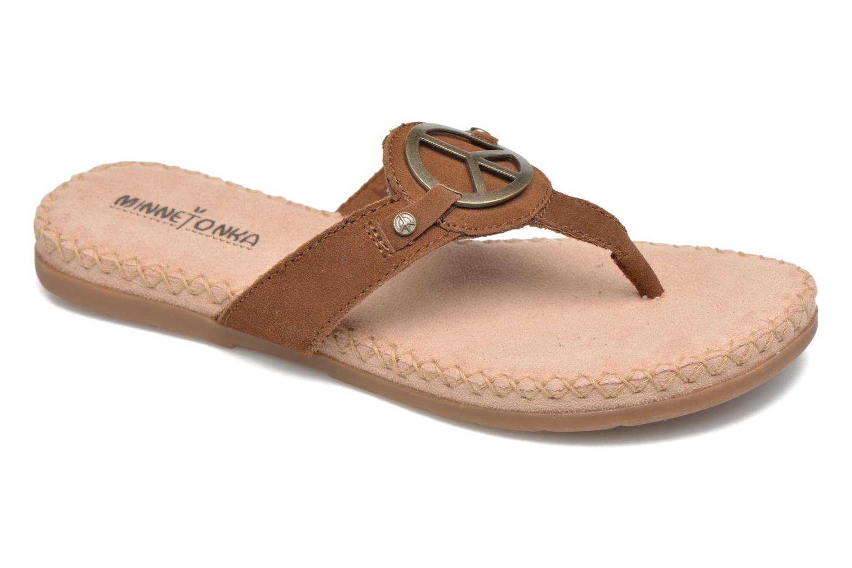 Sandales et nu-pieds Minnetonka Thong With Peace Sign Marron vue détail/paire