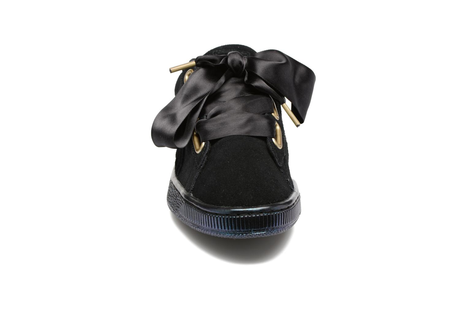 Suede Heart Satin Wn's Black