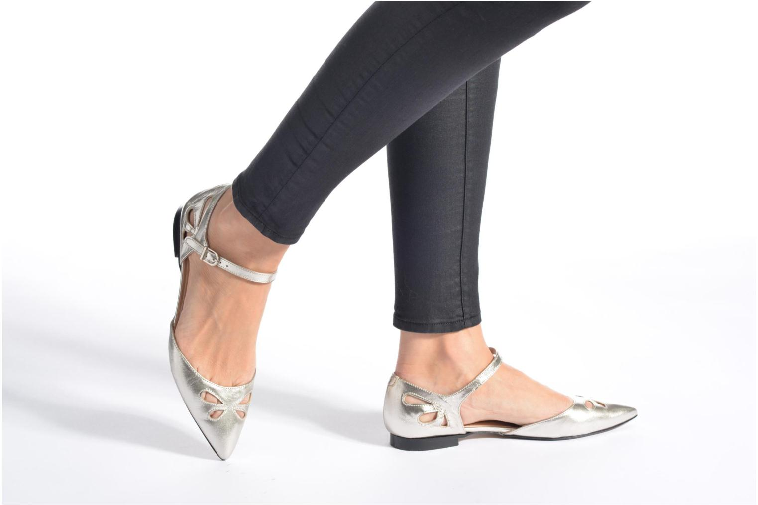 Ballet pumps Made by SARENZA Vegas Lipstick #2 Silver view from underneath / model view