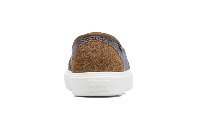 Baskets Victoria Slip On Piel Grabada Coco Bleu vue droite
