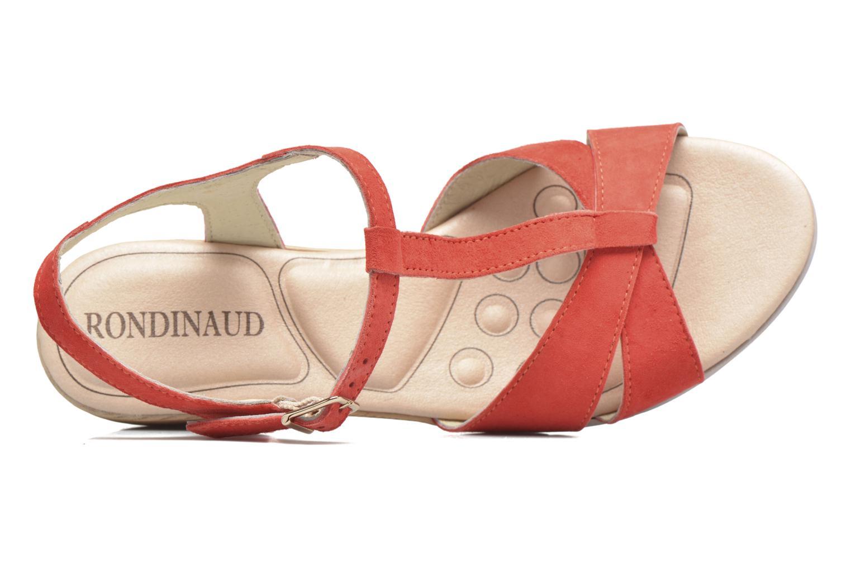 Sandalias Rondinaud Maronne Rojo vista lateral izquierda