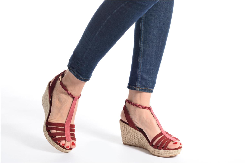 Sandales et nu-pieds Bensimon Compensée Tressée Vert vue bas / vue portée sac