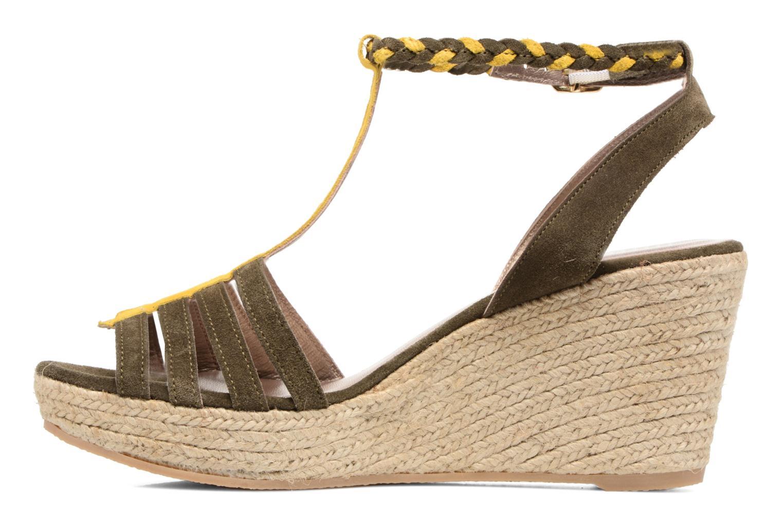 Sandales et nu-pieds Bensimon Compensée Tressée Vert vue face