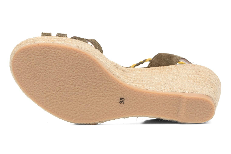Sandales et nu-pieds Bensimon Compensée Tressée Vert vue haut