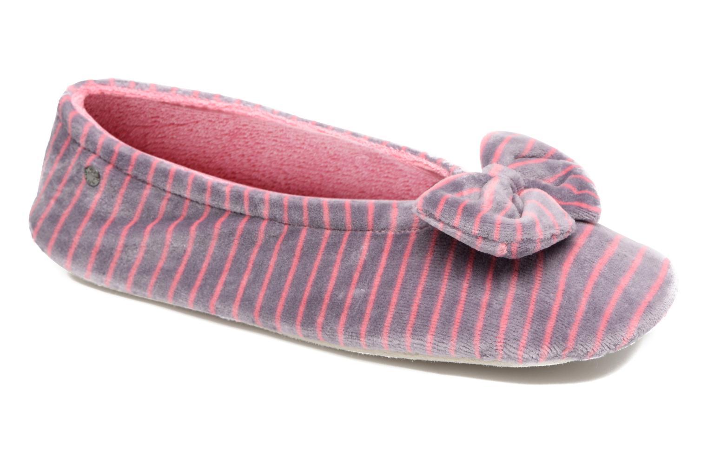Chaussons Isotoner Ballerine velours imprimé grand nœud Rose vue détail/paire