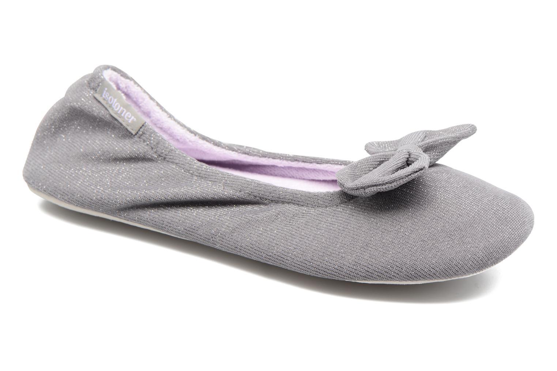 Chaussons Isotoner Ballerine jersey lurex grand nœud Gris vue détail/paire