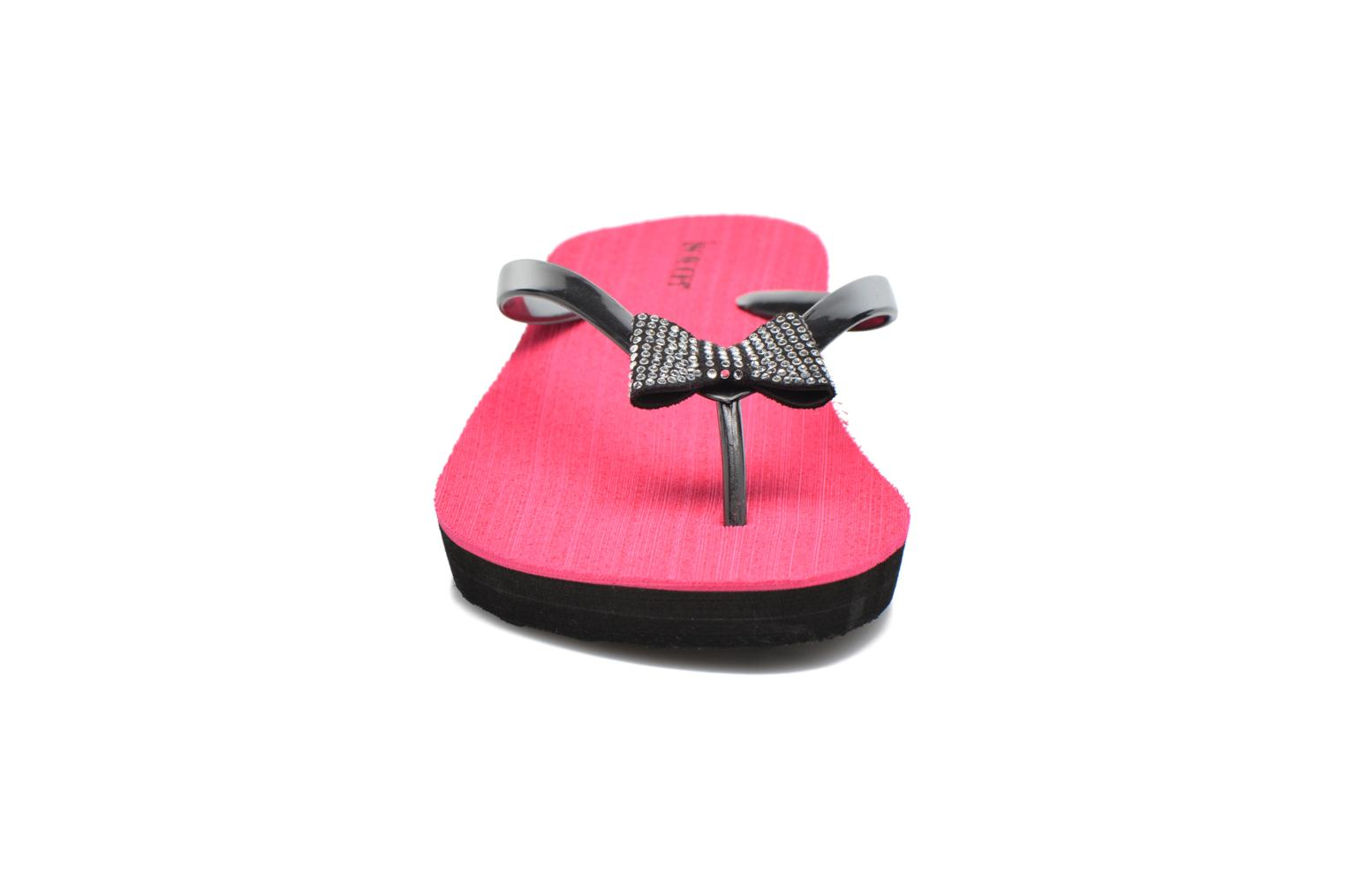 Tongs Isotoner Tong yoga strass Rose vue portées chaussures