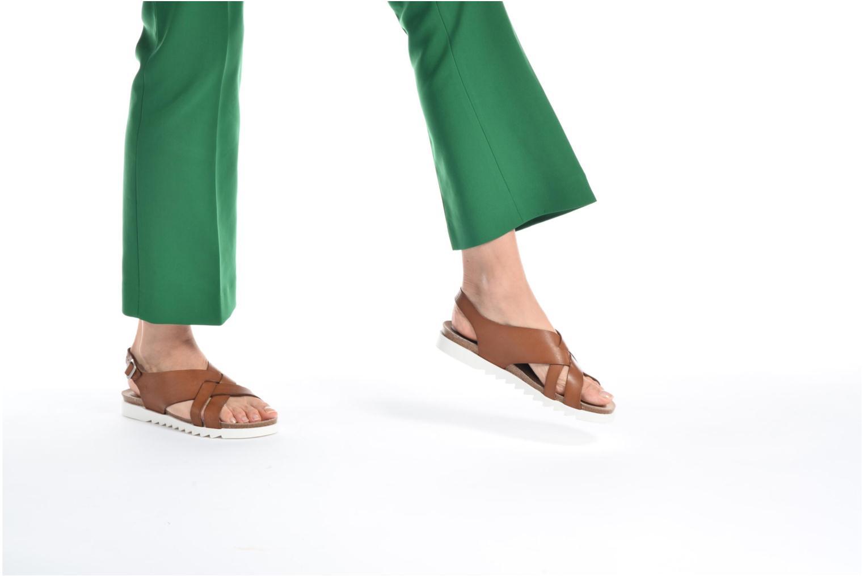 Sandales et nu-pieds TBS Tressie Or et bronze vue bas / vue portée sac
