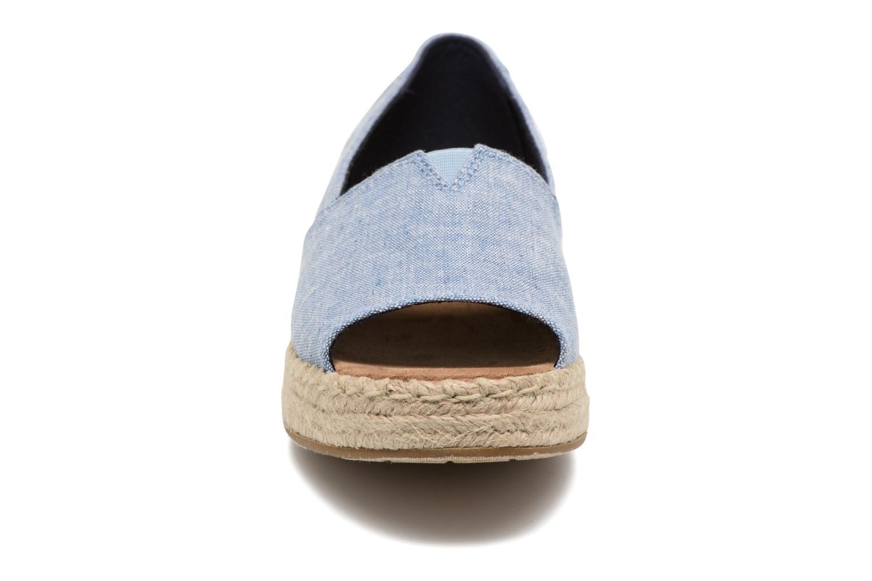 Espadrilles TOMS Open Toe Platform Alp Bleu vue portées chaussures