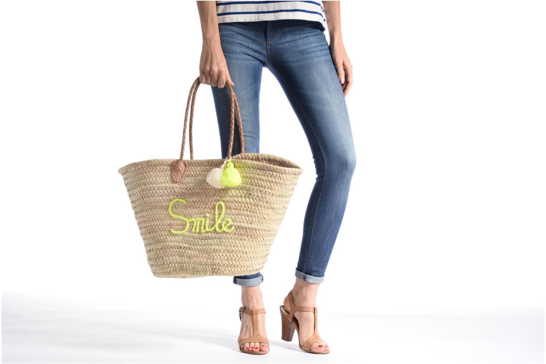 Panier artisanal Smile Jaune Fluo