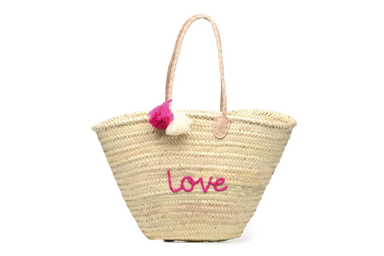 Handtassen Etincelles Panier artisanal Love Fuschia Roze detail