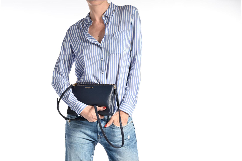 Handtaschen Michael Michael Kors ADELE DBL GUSSET CROSSBODY blau ansicht von oben