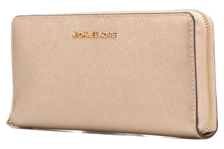 Marroquinería pequeña Michael Michael Kors JET SET TRAVEL CONTINENTAL Oro y bronce vista del modelo