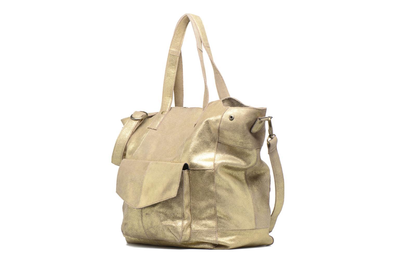 Borse Pieces Vanity Leather Big bag Foil Oro e bronzo modello indossato