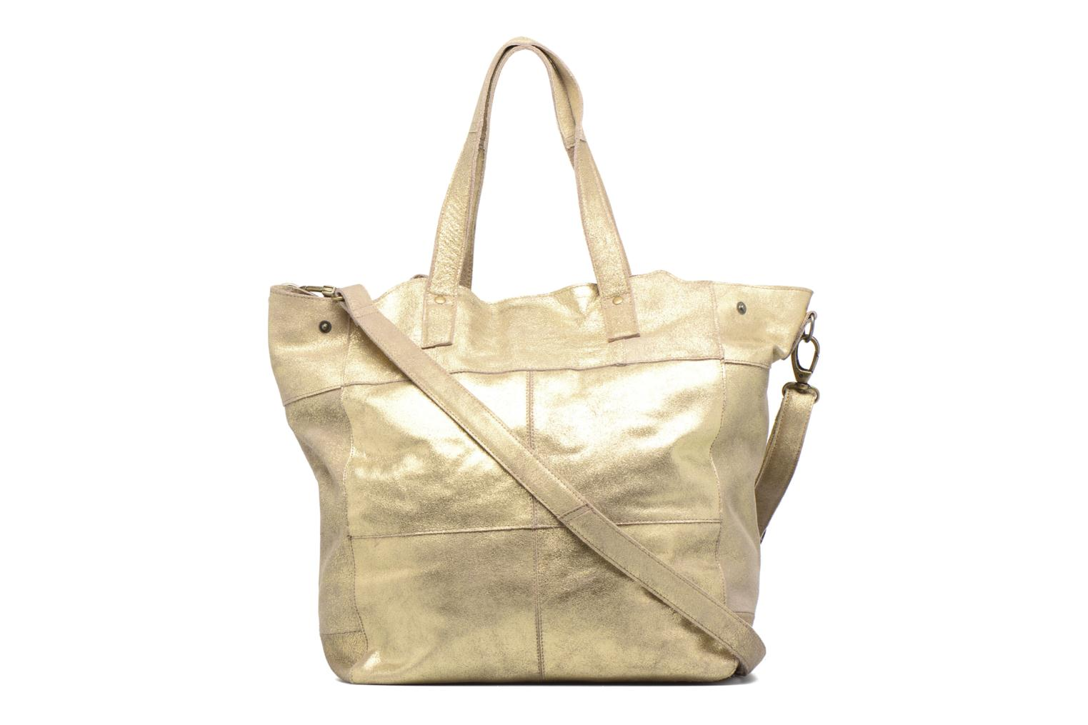 Handtassen Pieces Vanity Leather Big bag Foil Goud en brons voorkant
