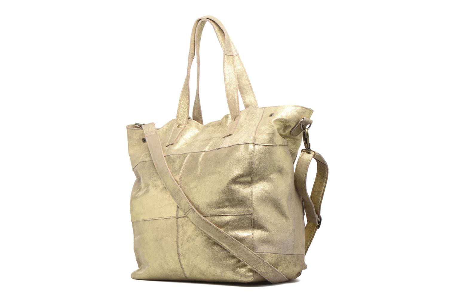 Handbags Pieces Vanity Leather Big bag Foil Bronze and Gold view from the right