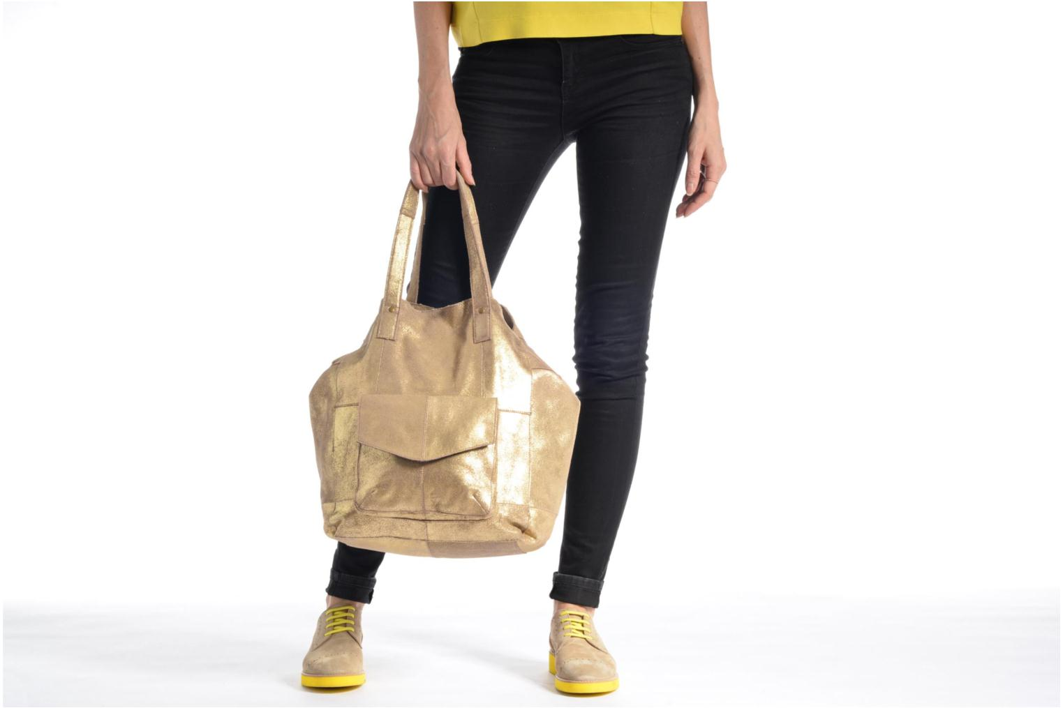 Handbags Pieces Vanity Leather Big bag Foil Bronze and Gold view from above