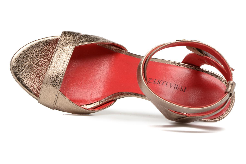 Sandalen Pura Lopez Violetta gold/bronze ansicht von links